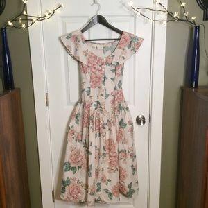 Vintage 1980's Floral Shawl Neck Prairie Dress